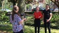 Pianist Dennis de Bruijn en zangeres Jocelynn van den Berg tijdens videoshoot